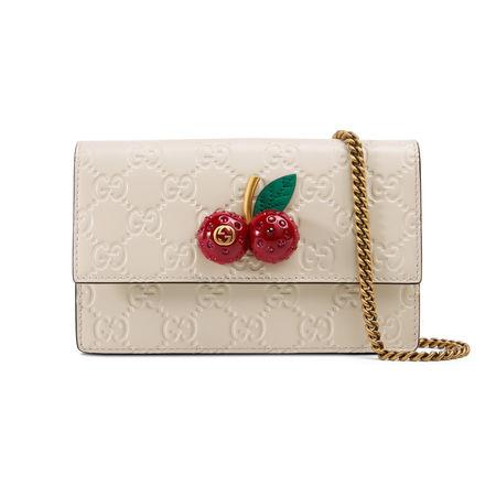 Gucci Mini-Tasche aus  Signature mit Kirschen braun