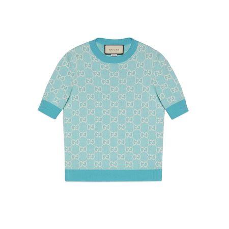 Gucci Oberteil aus Baumwoll-Woll-Piqué mit GGMotiv grau