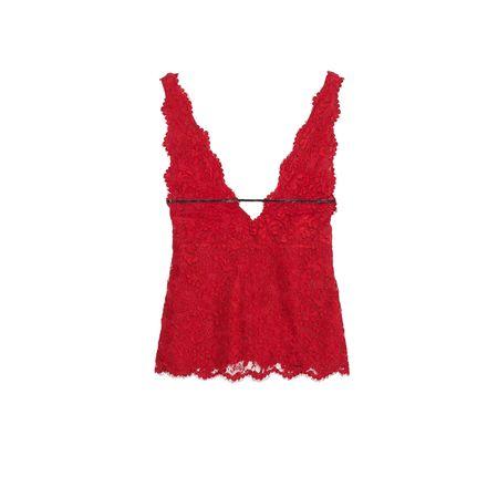 Gucci Oberteil aus Blumen-Spitze mit Lacklederriemen rot