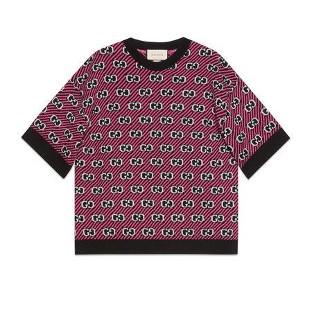 Gucci Oberteil aus Wolljacquard mit GG Streifen pink
