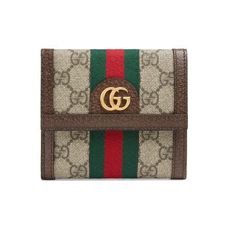Gucci Ophidia Brieftasche mit Überschlag und GG braun