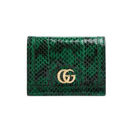 Gucci Ophidia Kartenetui aus Schlangenleder gruen