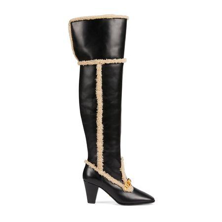 Gucci Overknee-Damenstiefel mit Kette schwarz