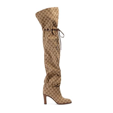 Gucci Overknee-Stiefel aus OriginalGGCanvas braun