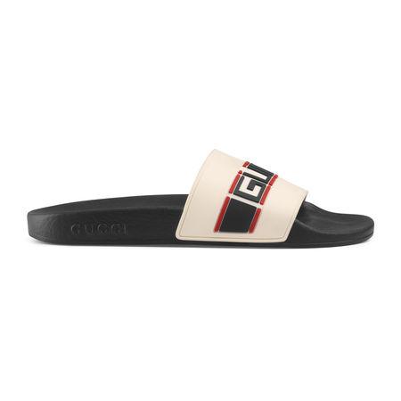 Gucci Pantolette aus Kautschuk mit Streifen schwarz