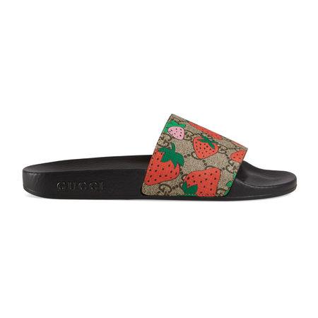 Gucci Pantolette mit GG  Strawberry-Print schwarz