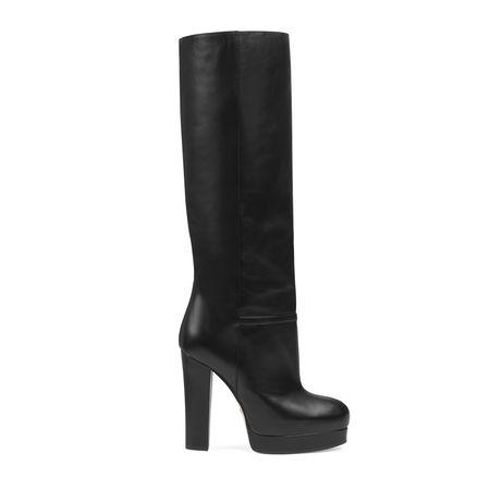 Gucci Plateau-Stiefel aus Leder schwarz