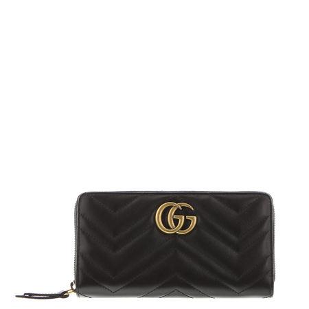 Gucci  - Portemonnaie GG Marmont aus Leder schwarz