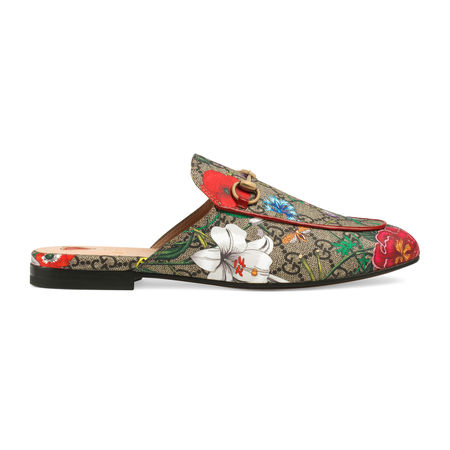Gucci Princetown GGSlipper mit Flora-Print braun