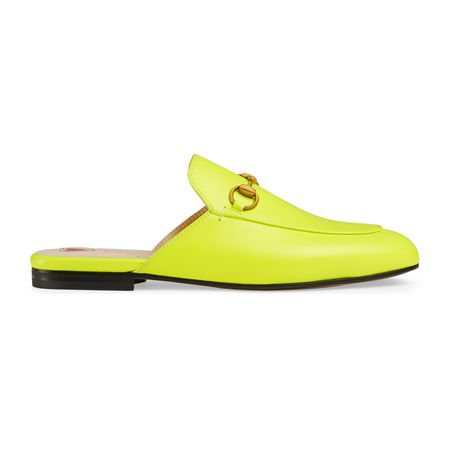 Gucci Princetown Slipper aus Leder gruen