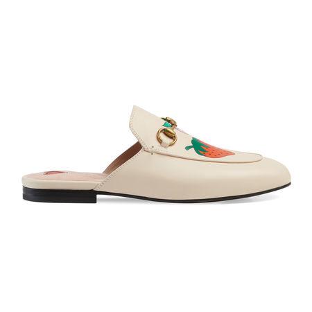 Gucci Princetown Slipper mit  Strawberry-Print braun