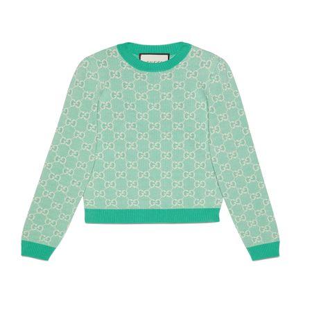 Gucci Pullover aus Baumwoll-Woll-Piqué mit GGMotiv gruen