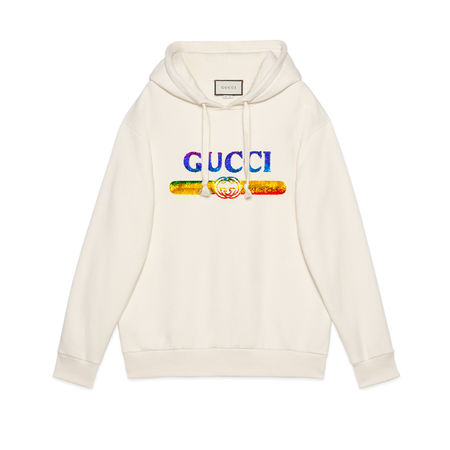 Gucci Pullover mit Pailletten-Logo beige