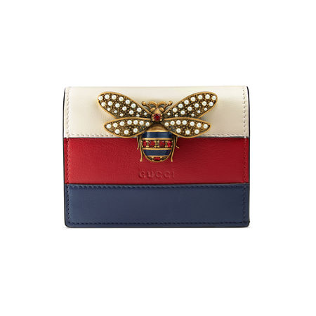 Gucci QueenMargaret Kartenetui aus Leder rot