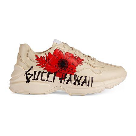 "Gucci Rhyton Damen-Sneaker mit "" Hawaii""-Print braun"
