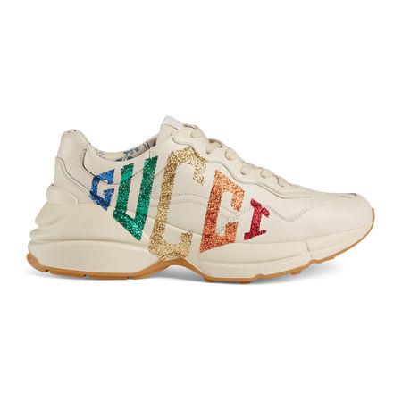 Gucci Rhyton Sneaker ausLeder mit glitzerndem  braun