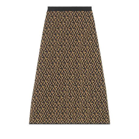 Gucci Rock aus GRhombus-Lamé-Wolljacquard braun