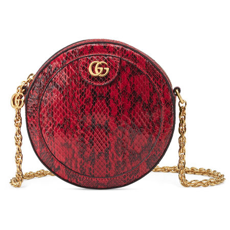 Gucci Runde Ophidia Mini-Schultertasche aus Leder braun