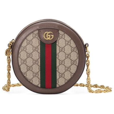 Gucci Runde Ophidia Mini-Schultertasche mit GG braun