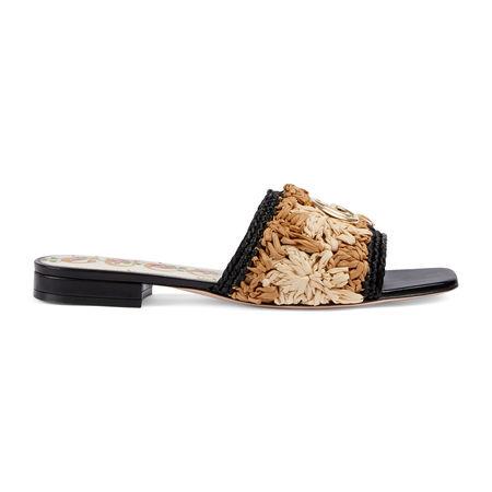 Gucci Sandale aus Bast mit Häkelblumen schwarz