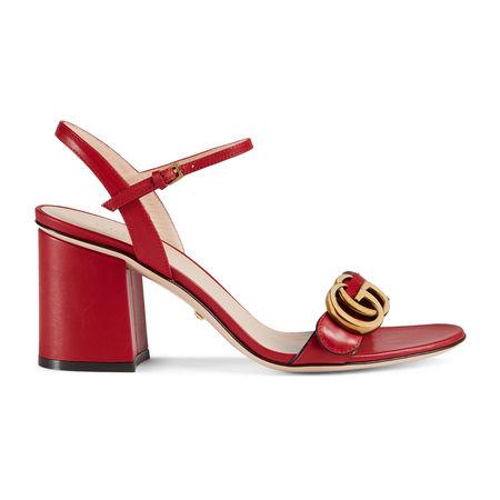 Gucci Sandale aus Leder mit mittelhohem Absatz rot