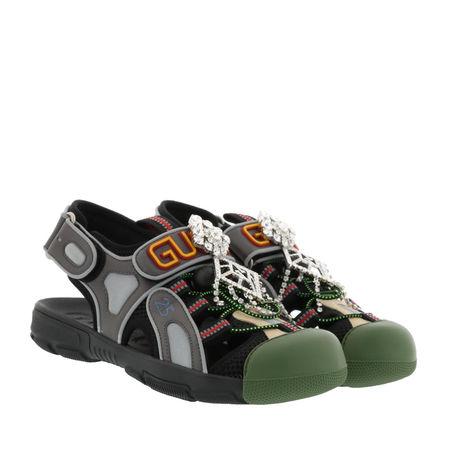 Gucci  Sandalen  -  Crystal Sandals Leather Black  - in schwarz  -  Sandalen für Damen grau
