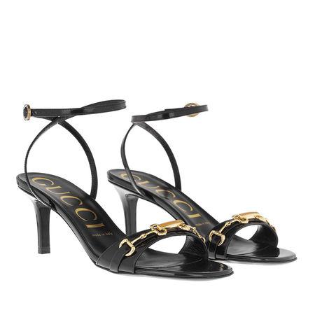 Gucci  Sandalen  -  Horsebit Patent Leather Sandals Black  - in schwarz  -  Sandalen für Damen grau