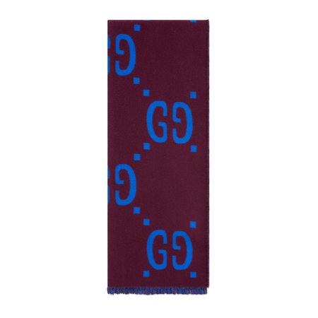 Gucci Schal aus GG Jacquard aus Wolle und Seide braun