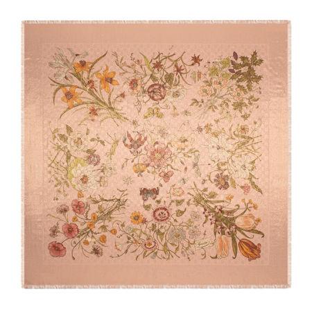 Gucci Schal aus GGWolle mit Lamé und Flora-Print orange