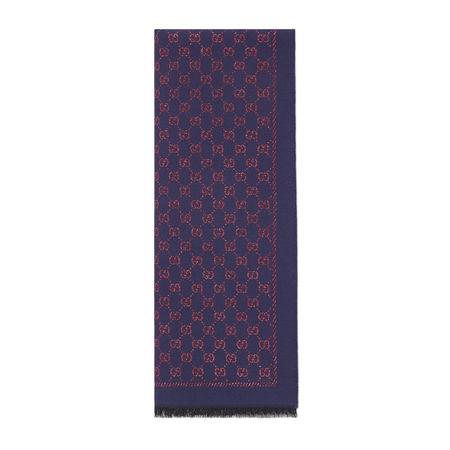 Gucci Schal aus Wolle mit Metallic-GG grau