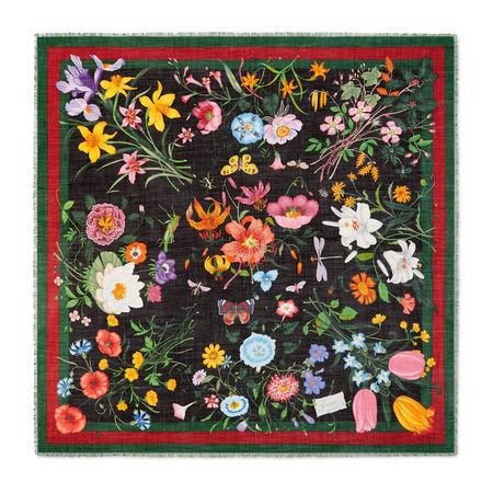 Gucci Schal aus Wolle und Seidensablé mit Blumen- und Webstreifen-Print grau