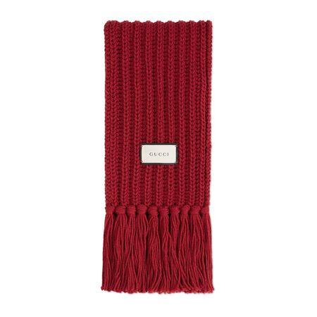 Gucci Schal aus Wollstrick mit Etikett
