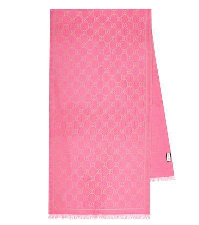 Gucci Schal GG mit Wollanteil rosa