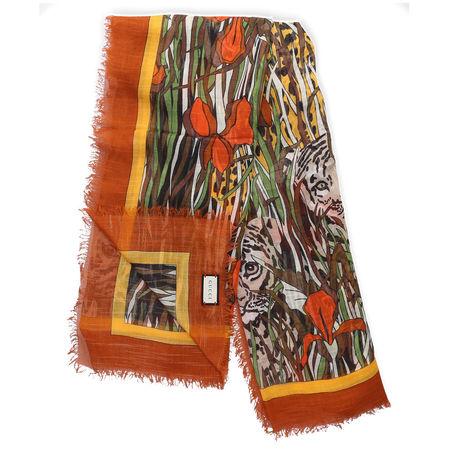Gucci Schal SL FELINS GARD Wolle Tiermuster Logo orange orange