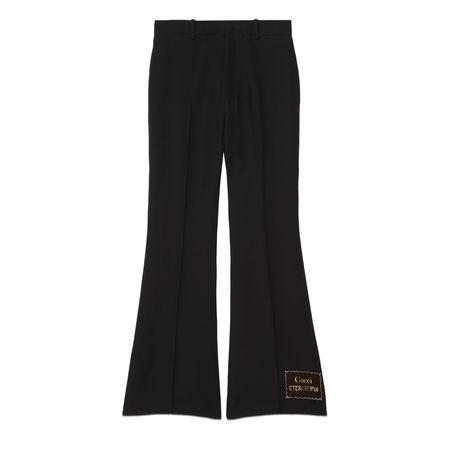 Gucci Schlaghose aus Wolle und Seide mit Eterotopia schwarz