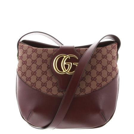 Gucci  - Schultertasche Arli aus Leder und Stoff braun