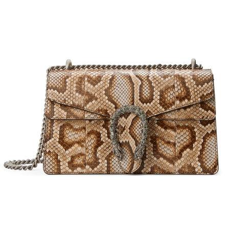 Gucci Schultertasche Dionysus aus Pythonleder braun