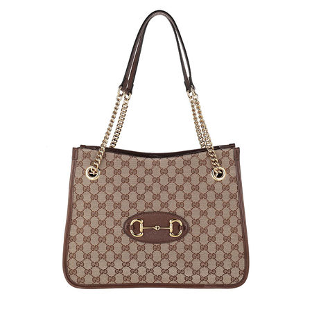 Gucci  Shopper  -  Medium Horsebit Shopping Bag Leather Beige Ebony  - in braun  -  Shopper für Damen braun
