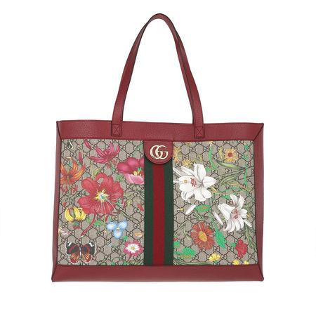 Gucci  Shopper  -  Ophidia GG Flora Medium Tote Multi  - in rot  -  Shopper für Damen braun