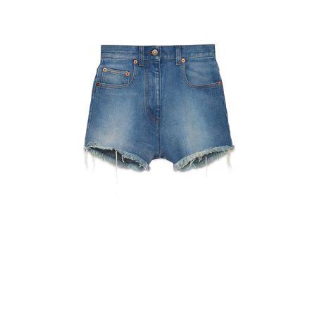 Gucci Shorts aus gewaschenem Denim mit  Kirsche grau