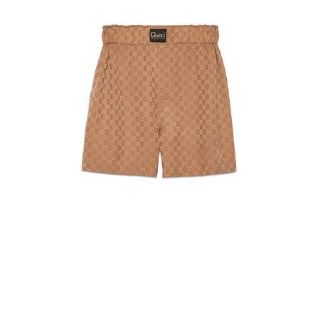 Gucci Shorts aus Seide mitGG und Etikett braun