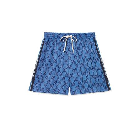 Gucci Shorts aus technischem GG Jersey blau