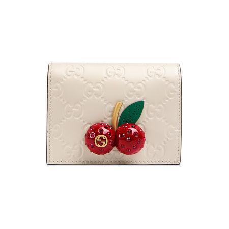 Gucci  Signature Kartenetui mit Kirschen braun