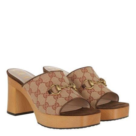 Gucci  Slipper & Pantoletten - Retro Logo Mule Canvas - in beige - für Damen braun