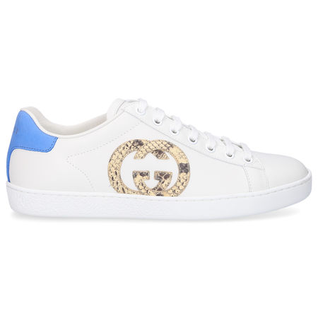Gucci Sneaker low ACE Kalbsleder Pythonleder Logo weiß blau