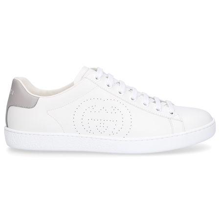Gucci Sneaker low NEW ACE  Kalbsleder Logo weiß grau