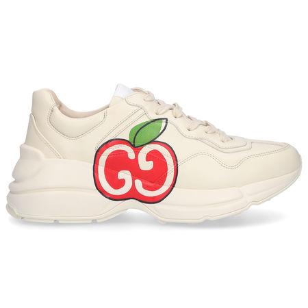 Gucci Sneaker low RHYTON Kalbsleder Logo beige grau