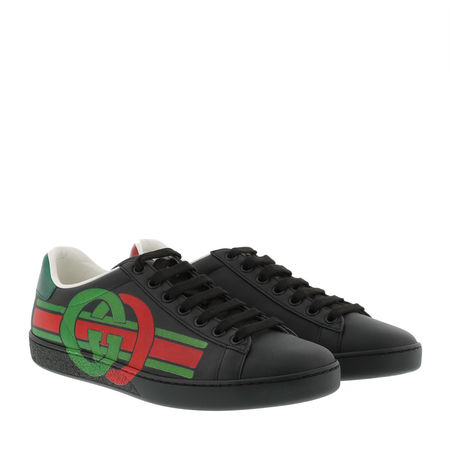 Gucci  Sneakers  -  GG New Ace Sneaker Leather Black  - in schwarz  -  Sneakers für Damen schwarz