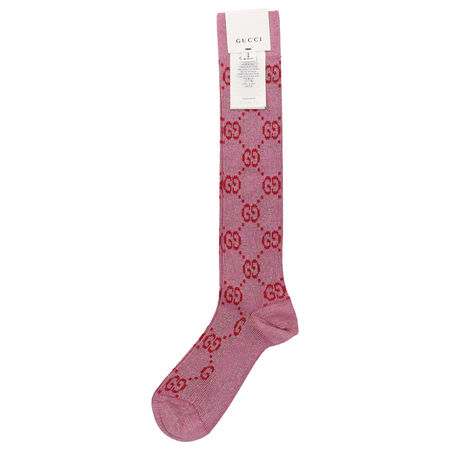 Gucci Socken SOCKS LOGO GG Baumwolle Lamé Logo rosa rot braun