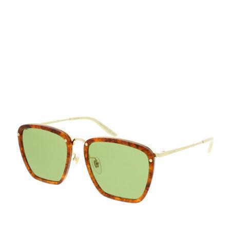 Gucci  Sonnenbrille  -  GG0673S-004 56 Sunglasses Havana-Gold-Green  - in braun  -  Sonnenbrille für Damen gruen